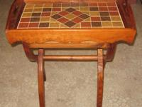 Folding tray table with detachable top. One of a kind