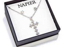 Napier Crystal Cross Pendant and Earring Boxed Jewelry