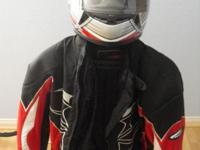 2 Scorpion helmets large, red jacket large, blue jacket