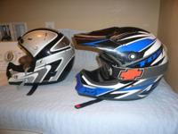 2 MOTORCROSS HELMETS WITH GOOGLES FOR SALE, GOOD