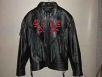 Ladies leather jacket. Size 2X. New condition, zip out