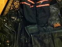 1 Leather (heavy) jacket size 10-small. zips on side