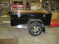 Custom built motorcycle trailer by Diamond Eagle Manf,