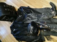 WOMEN'S Leather Coat,has liner, roses,fringe. WOMEN'S