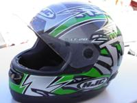 Motorcycle HELMET HJC Small Green Whit and Black Good