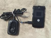 Matorola Razor flip phone, black. Good condition. Works