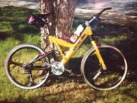 Cannondale mountain bike, yellow custom built with