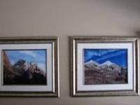 Pair of Mountain Scenic Pictures in beautiful matted