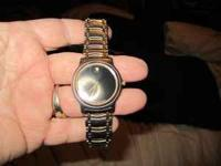MENS MOVADO WATCH 2 TONE BAND BLACK FACE MUST SEE TO