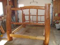 Hand built Cherry queen size log bed,  Solid Oak