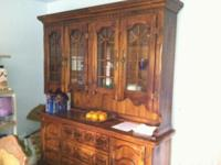 Moving sale  Antique solid wood china cabinet,