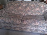 Apartment sized sofa,  antique bentwood rocker,