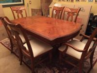 Dining room table with 6 chairs, armoire and rug set in