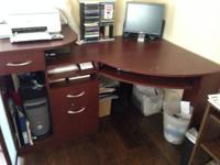 Bush - Wood Corner Desk in Cherry - Vantage Desk Is