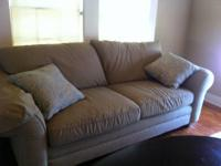 Ethan Allen sage full size sofa and off white chair.