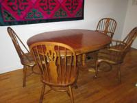 Oak table with set of four oak chairs only $165  Oak