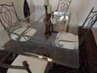 Rectangular beveled edge glass tabletop dining room