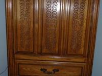 Broyhill Premier Oak room consists of triple dresser