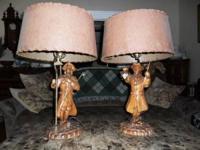 2 Rare Vintage ANTIQUES 1950's WOOD LAMPS - $200