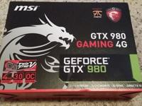 msi gtx 980 gaming 4gb graphics card brand new in