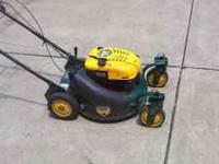 This mower runs and has swivel wheels. No emails  ----