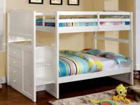 This multi-functional bunk bed has built in steps to