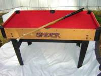 MINI SIZED POOL TABLE WITH SWITCHABLE TOPS/GAMES. HAS
