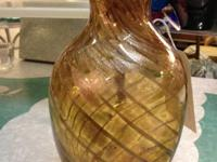 "Murano Glass Gold Amber Vase. 11"" Tall. $95. Mid"