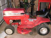 UP FOR SALE IS A MURRAY LAWN TRACTOR 32 INCH DECK RUNS
