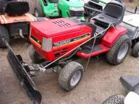 MURRAY LAWN TRACTOR WITH A 46 INCH SNOW PLOW 18 HORSE