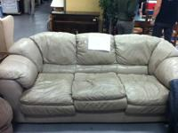 Beautiful mushroom leather sofa in great condition.