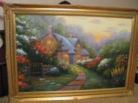 Gorgeous Oil Painting on Canvas of an English Cottage