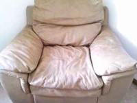 5 piece leather set 2 single chairs and ottaum Sofa and