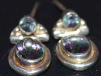 REAL MYSTIC TOPAZ EARRINGS stud backing LIKE NEW! 925