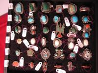 WE HAVE A LARGE SELECTION OF NATIVE AMERICAN RINGS,