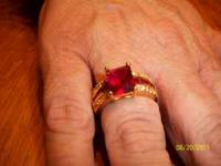 3.25ct RUBY & Diamond 14K Solid Y Gold ring stamped