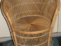Natural wicker chair with fan back in very good