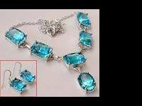 Natural Blue Topaz  Necklace and Earrings - set  Silver