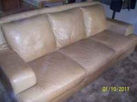 Natuzzi Leather Couch Tan color with all leather in