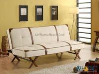 Off white sofa bed with synthetic leather strap and