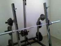 this is a used free weight nautilus gym with two