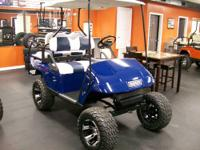 Check out this 2009 EZ-GO PDS Blue colored Golf Cart.