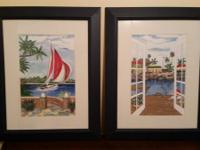 I have a 2 piece set of framed matted art. They are in