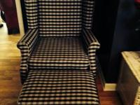Selling a wingback chair with ottoman navy blue plaid