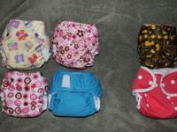 6 Newborn cloth diapers for sale (4pocket 2covers) all