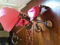 European Hot pink Stokke Xplory stroller. Excellent
