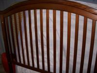 BEAUTIFUL CHERRY OAK. BABY BED WITH MATTRESS CONVERTS