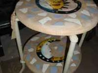 Mosaic style plant stand ,Table...$20.00..Facebook page