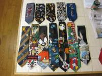 Lot of 12 Neck Ties. Looney Tunes, Bugs Bunny, Taz, &