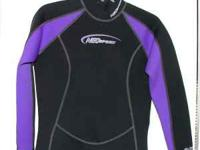 Black, with purple accents neosport wetsuit. Size 10.